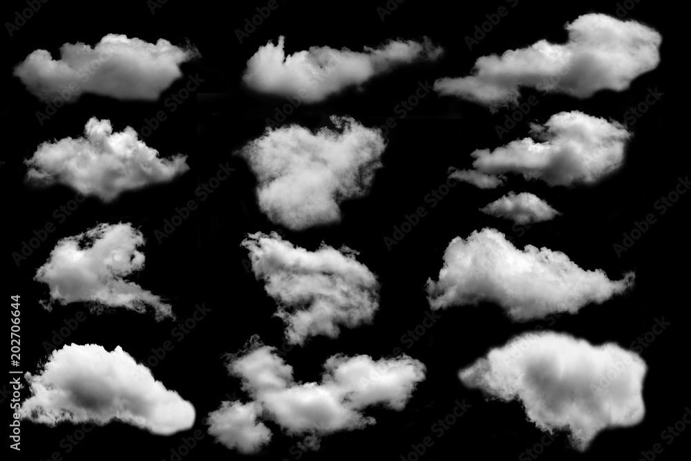 Fototapety, obrazy: many cloud isolated on black background