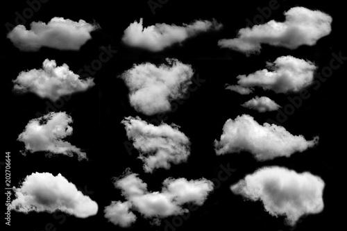 many cloud isolated on black background
