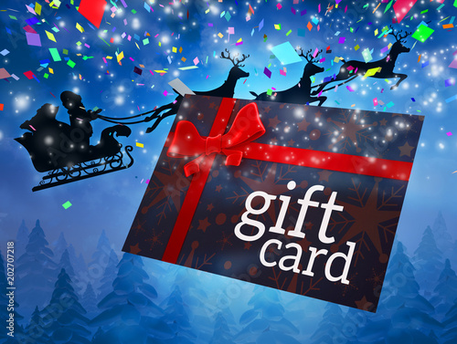 Poster Bordeaux Santa flying his sleigh behind gift card against snowy landscape at night
