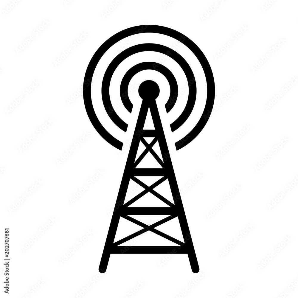 radio tower    mast with radio waves for broadcast
