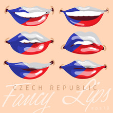 Woman Lips Painted World Flag ...
