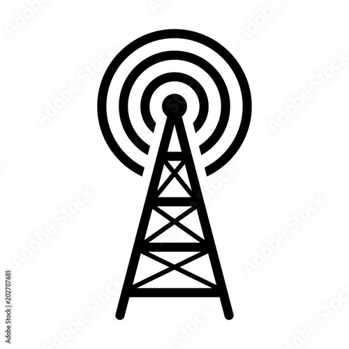Radio tower / mast with radio waves for broadcast transmission line art vector icon for apps and websites