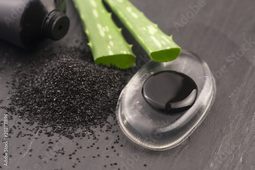 Photo black charcoal mask with aloe vera