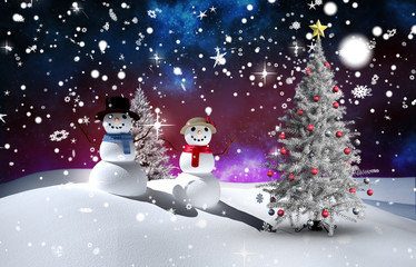 ChComposite image of christmas tree and snowmen against fir tree in snowy landscape