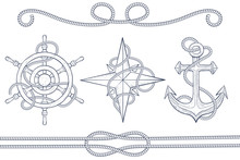 Nautical Design Elements. Steering Wheel, Windrose, Anchor With Rope. Hand Drawn Sketch