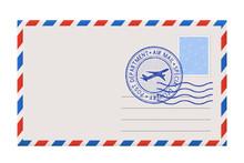 Blank Envelope With Stamp And Postal Postmark