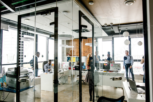 Modern Bright Small Office With Glass Walls Glass Door Panorama