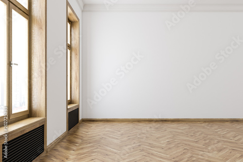 White wooden frames windows empty room interior - Buy this stock ...
