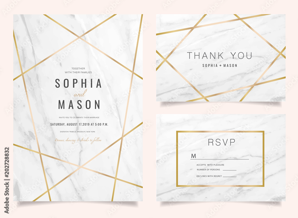 Fototapety, obrazy: Luxury Wedding Invitations set  for Design  Thank you card , RSVP Stationary with marble vector cover.