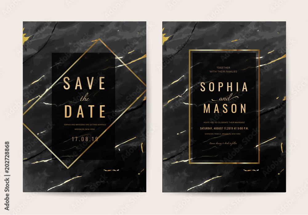 Fototapety, obrazy: Wedding Invitation cards with black marble texture and gold line vector