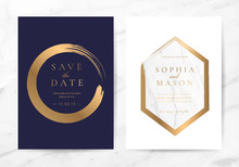 Luxury Wedding Invitation Cards With Marble And Rose Gold Texture Vector