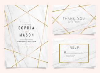 Luxury Wedding Invitations set  for Design  Thank you card , RSVP Stationary with marble vector cover.