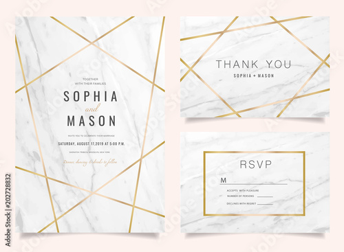 Obraz Luxury Wedding Invitations set  for Design  Thank you card , RSVP Stationary with marble vector cover. - fototapety do salonu