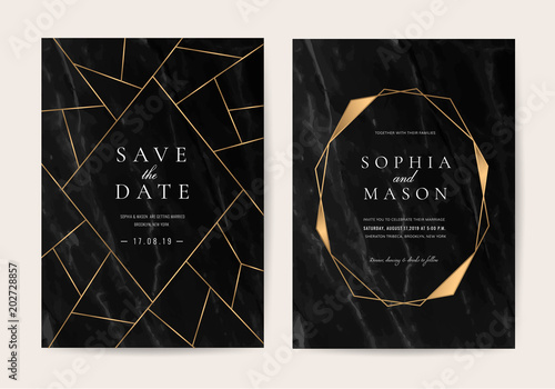 Obraz Wedding Invitation cards with black marble texture and gold line vector - fototapety do salonu