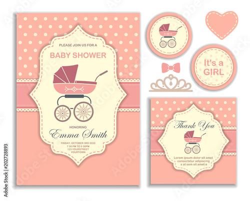 Fototapeta Baby Shower Girl Invitation Card