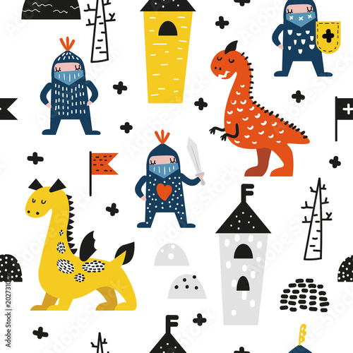 Hand Drawn Seamless Pattern with Dragons and Knights. Creative Childish Background with Cute Hero Boys for Fabric, Textile, Wallpaper, Decoration, Prints. Vector illustration