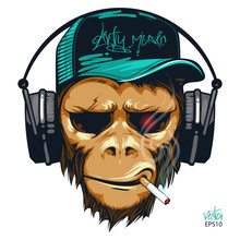 Music Fan Hipster Monkey In He...