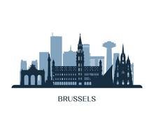 Brussels  Skyline, Monochrome Silhouette. Vector Illustration.
