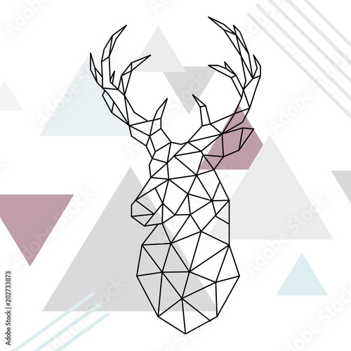 Geometric reindeer illustration Wallpaper Mural