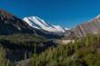 Hunza valley landscape, summer forest and mountain ridge with Rakaposhi mountain peak in Pakistan