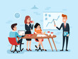 Office teamwork or business meeting. Busy corporate cartoon workers. Businessman and team works together, management vector concept
