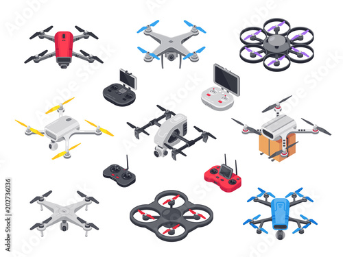 Obraz Remote control flying copter with camera. Radio controllers for rotor drone. Unmanned aircraft drones isolated isometric vector set - fototapety do salonu