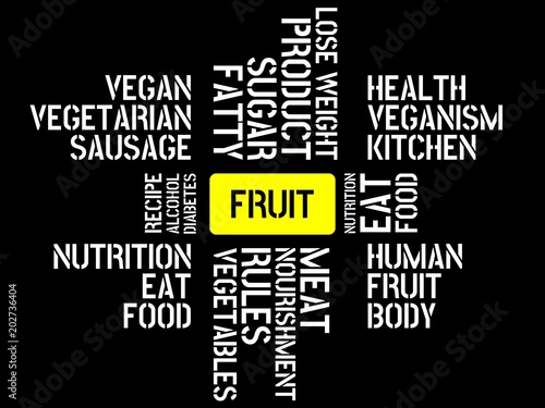 fruit image with words associated with the topic nutrition word