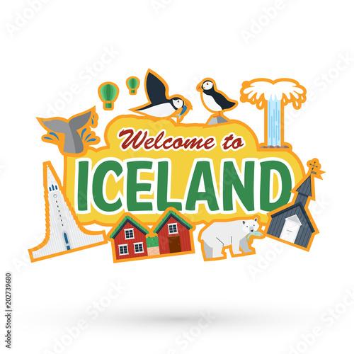 Valokuvatapetti Flat design, Iceland landmarks and icons, Vector Illustration