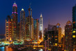 General view of Dubai Marina at night from the top