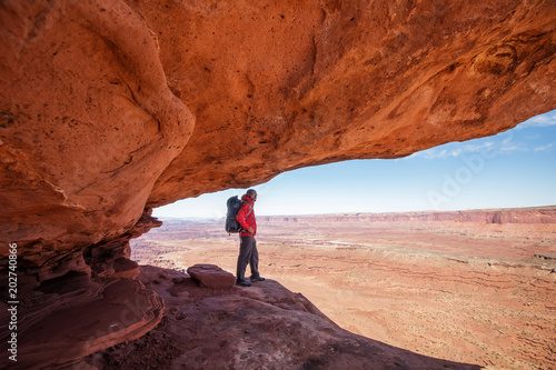 Poster Cuban Red Hiker in Canyonlands National park in Utah, USA