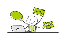 Communications Method - Business Concept With Funny Stickman. Vector.