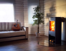Wood Burning Stove In Cozy Liv...