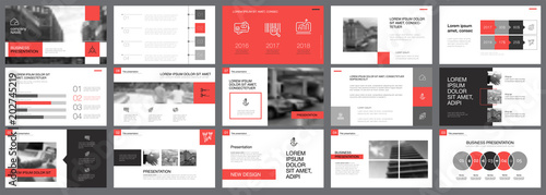 Red, white and grey infographic elements of presentation Canvas-taulu