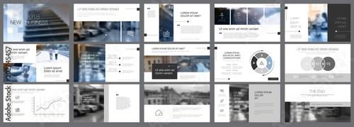 Fotografie, Obraz  White, grey and black infographic elements of presentation