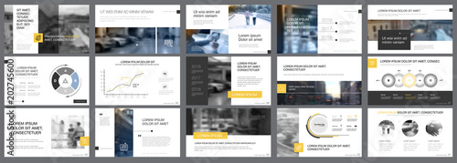 Valokuva  Yellow, white and grey infographic elements for presentation