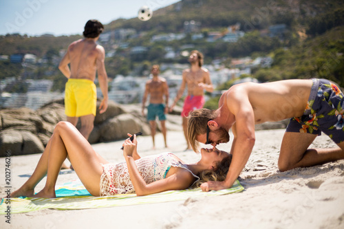 Romantic young couple at beach