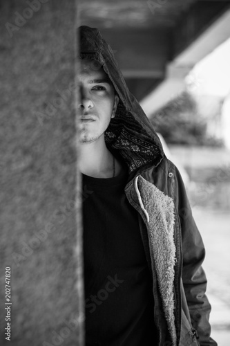 Pretty Serious Young Man On The Street Casual Lifestyle Clothes Male Model Posing Near Old Building Sureness Guy In Monochrome Style Buy This Stock Photo And Explore Similar Images At Adobe