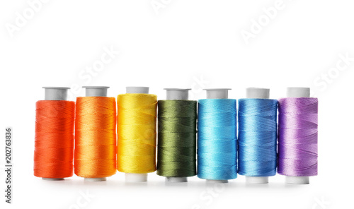 Fotografie, Obraz Color sewing threads on white background
