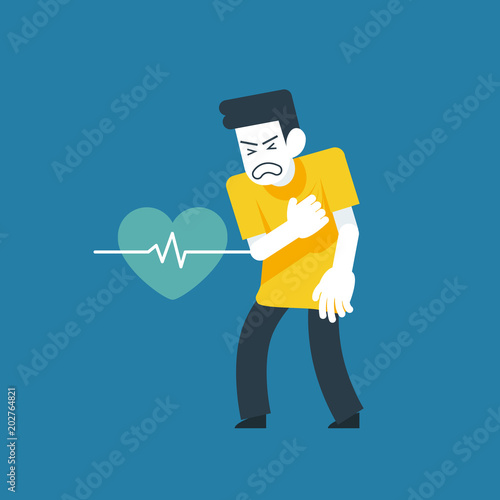 Vector Illustration, He suffered from a heart attack symptoms Canvas-taulu