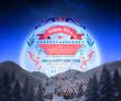Christmas message against christmas village under full moon