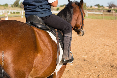 Poster Equitation Boy riding a horse in the ranch