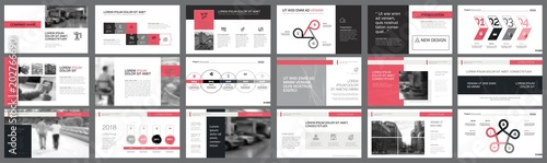 Fototapeta Black and pink marketing or planning concept infographics set obraz
