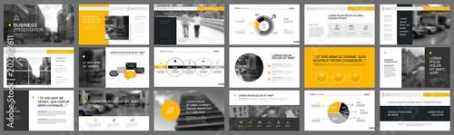Valokuva Orange and black marketing or finance concept infographics set