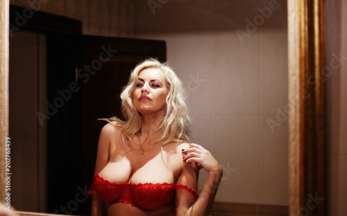 Portrait of an adult sexy woman with big natural breast Canvas Print