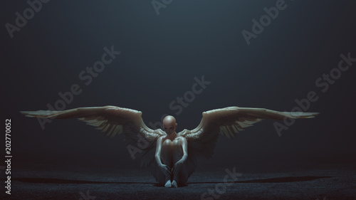Evil Spirit with Wings Sitting down with its Knees up in a foggy void 3d Illustration