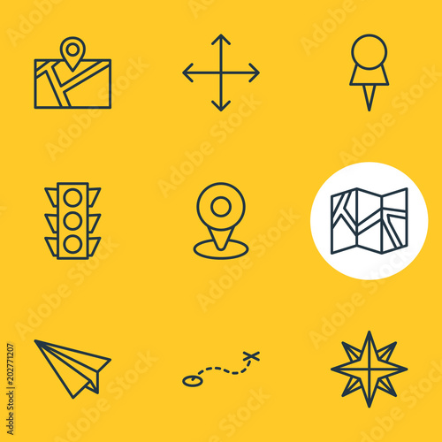Plakat illustration of 9 direction icons line style