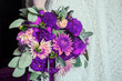 canvas print picture - bridal bouquet in violet tones trend in 2018