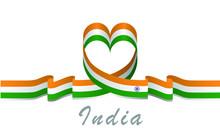 India Flag And Love Ribbon