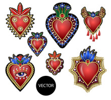 Traditional Mexican Hearts With Fire And Flowers, Embroidered Sequins, Beads And Pearls. Vector Patches.