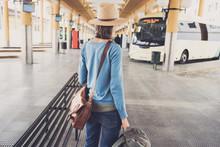 Young Woman Traveler Waiting F...